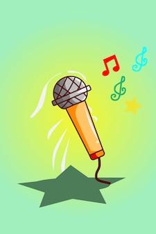 Illustration de dessin animé de microphone en hausse