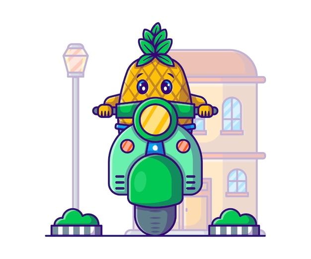 Illustration de dessin animé mignon ananas équitation scooter
