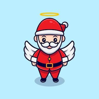 Illustration de dessin animé mignon ange santa claus mascotte.