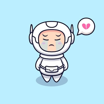 Illustration de dessin animé mignon astronaute qui pleure. style de bande dessinée plat
