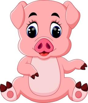 Illustration de dessin animé mignon bébé cochon