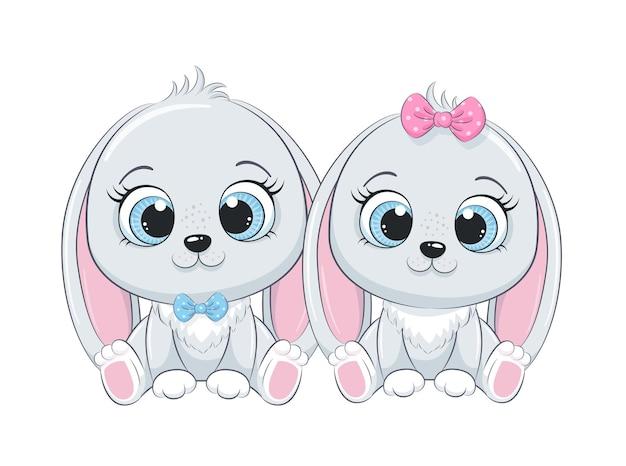 Illustration de dessin animé mignon bébé garçon et bébé fille lapin