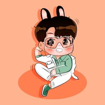 Illustration de dessin animé mignon bébé garçons photoshot avec des lunettes