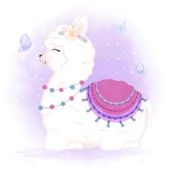 Illustration de dessin animé mignon bébé lama et papillons