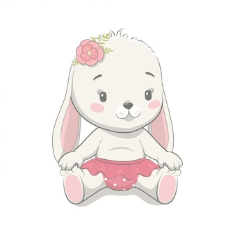Illustration de dessin animé mignon bébé lapin