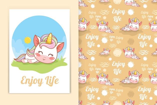 Illustration de dessin animé mignon bébé licorne sommeil et ensemble de motifs sans couture