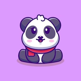 Illustration de dessin animé mignon bébé panda assis