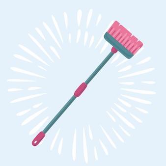 Illustration de dessin animé mignon de brosse sur un balai à long manche