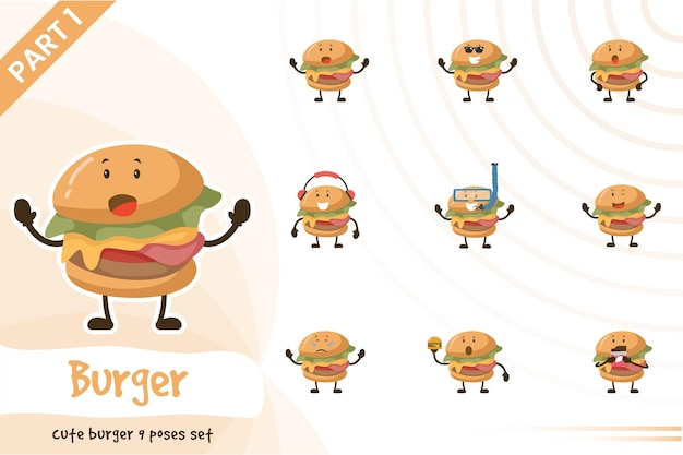 Illustration de dessin animé de mignon burger pose ensemble.