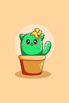 Illustration de dessin animé mignon cactus chat plante icône