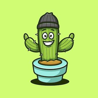 Illustration de dessin animé mignon cactus heureux