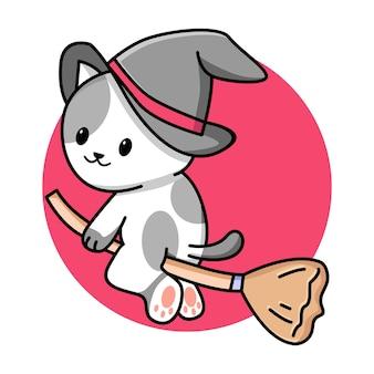Illustration de dessin animé mignon chat assistant volant balai
