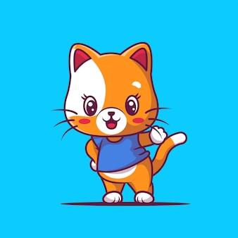 Illustration de dessin animé mignon chat heureux
