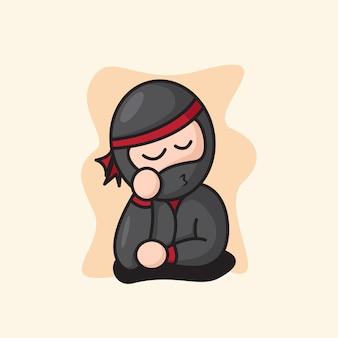 Illustration de dessin animé mignon chibi ninja day dream