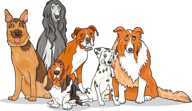 Illustration de dessin animé de mignon chiens de race pure