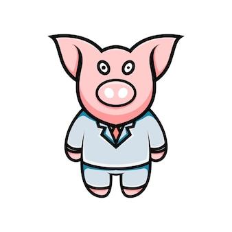 Illustration de dessin animé mignon cochon d'affaires