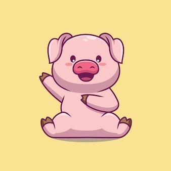 Illustration de dessin animé mignon cochon agitant la main