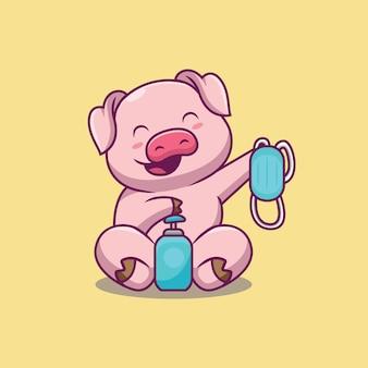 Illustration de dessin animé mignon cochon tenant masque et désinfectant pour les mains