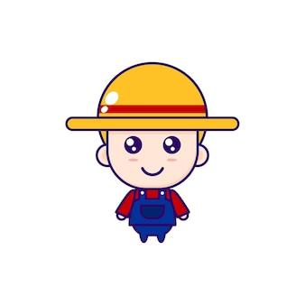 Illustration de dessin animé mignon de conception de vecteur de fermier chibi