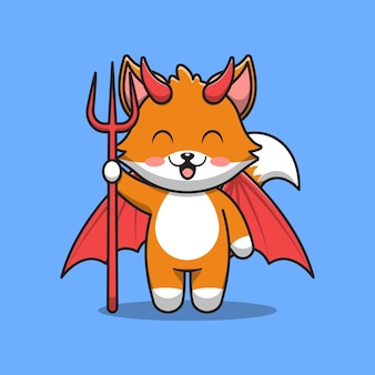 Illustration de dessin animé mignon démon renard