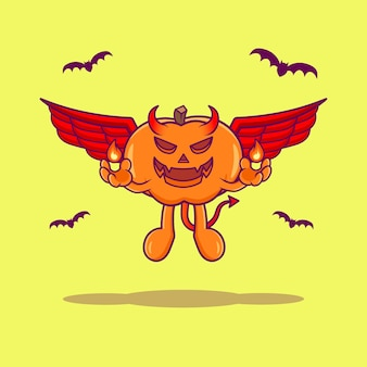 Illustration de dessin animé mignon diable citrouille volant vecteur premium
