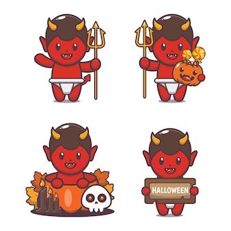 Illustration de dessin animé mignon diable halloween illustration de vecteur de dessin animé mignon halloween