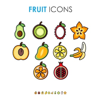 Illustration de dessin animé mignon diverses icônes de fruits avec contour noir épais
