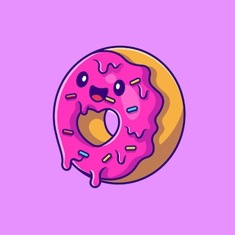 Illustration de dessin animé mignon donut volant. style de bande dessinée plat