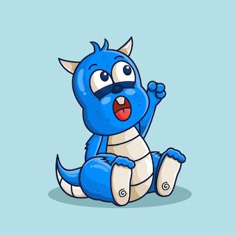 Illustration de dessin animé mignon dragon bleu