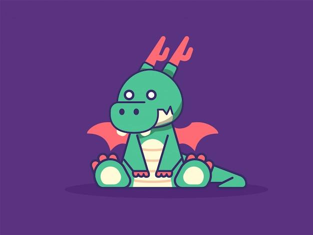 Illustration de dessin animé mignon dragon