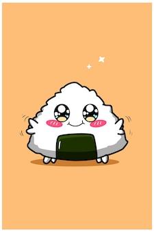Illustration de dessin animé mignon et drôle de bébé sushi