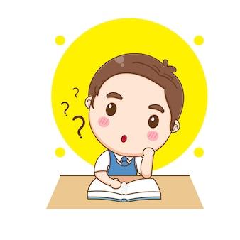 Illustration de dessin animé mignon étudiant enfant pensant