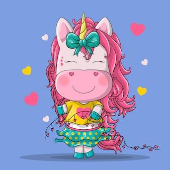 Illustration de dessin animé mignon fille licorne dessinés à la main.
