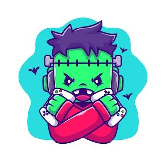 Illustration de dessin animé mignon frankenstein zombie gaming. concept d'icône de jeu halloween