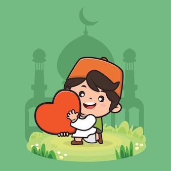 Illustration De Dessin Animé Mignon Garçon Musulman Ramadan Vecteur Premium