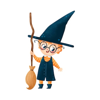 Illustration de dessin animé mignon garçon sorcier halloween avec balai isolé sur fond blanc