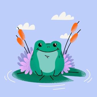 Illustration de dessin animé mignon grenouille