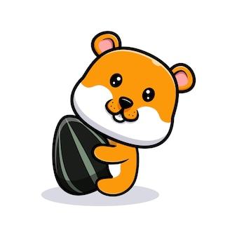 Illustration de dessin animé mignon hamster câlin graine de tournesol