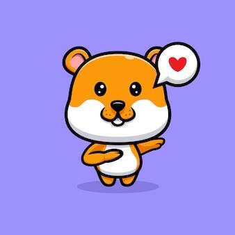Illustration de dessin animé mignon hamster tamponnant