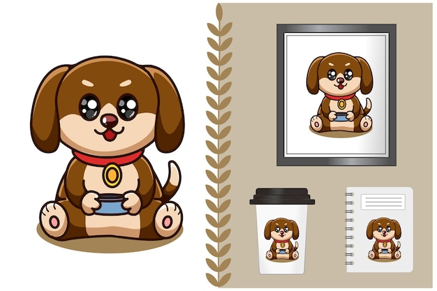 Illustration de dessin animé mignon et heureux bébé chien