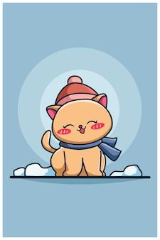 Illustration de dessin animé mignon et heureux chat hiver