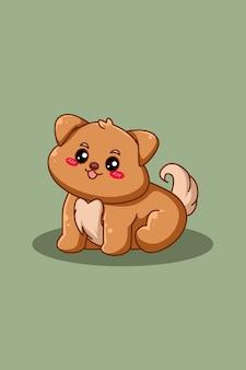 Illustration de dessin animé mignon et heureux chien animal jour