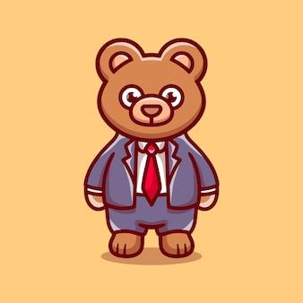 Illustration de dessin animé mignon homme d'affaires patron ours
