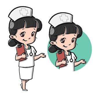 Illustration de dessin animé mignon infirmière