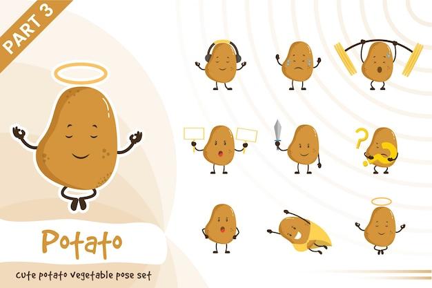 Illustration de dessin animé de mignon jeu de légumes de pomme de terre