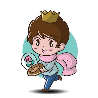 Illustration de dessin animé mignon jeune prince