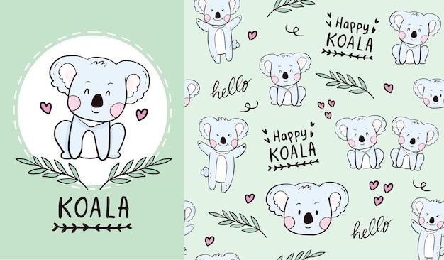 Illustration de dessin animé mignon koala heureux modèle sans couture