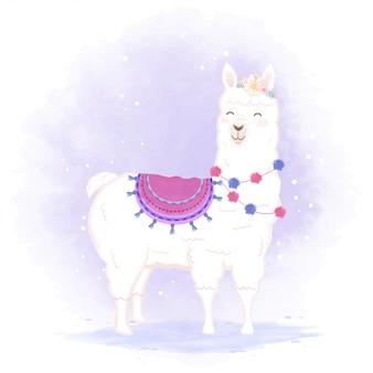 Illustration de dessin animé mignon lama
