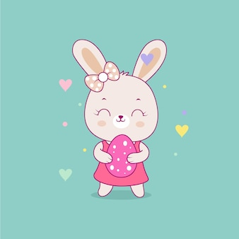 Illustration de dessin animé mignon lapin fille