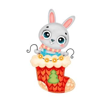 Illustration de dessin animé mignon lapin de noël portant une écharpe avec des lumières de guirlande en chaussette de noël rouge